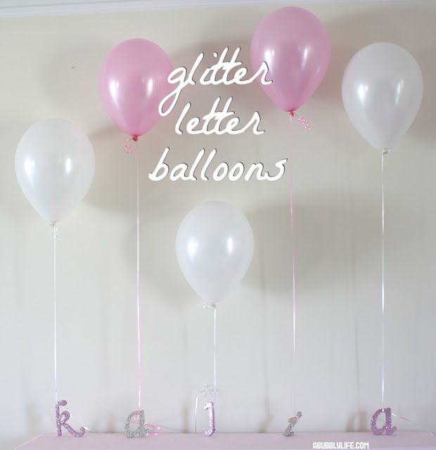 Love this idea!  Glitter letters as balloon weights! :)