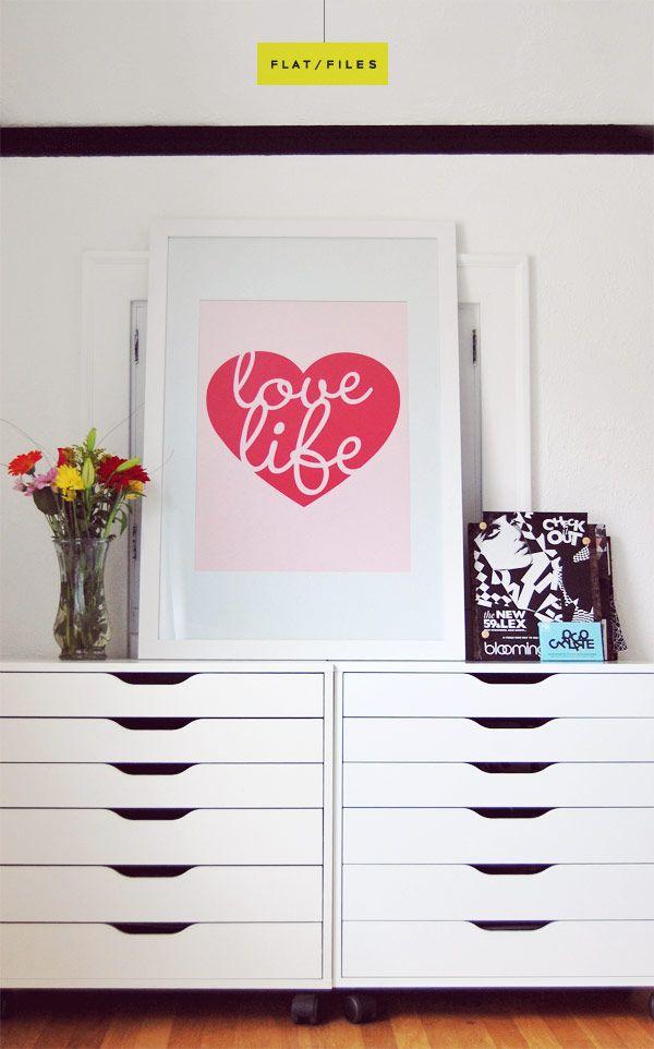 "IKEA ""alex"" flat file drawer unit."
