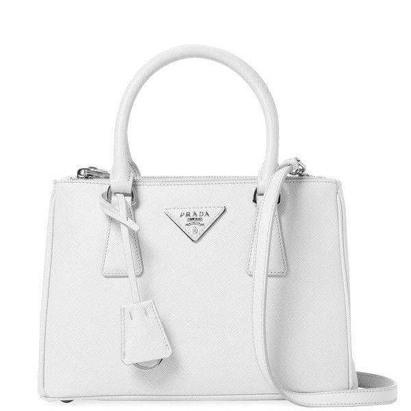 Prada Women s Galleria Double Zip Small Saffiano Leather Tote - White  ( 1 b74fe3727c518
