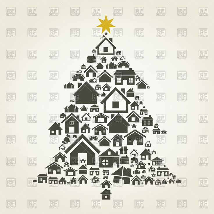 Christmas tree made of houses, 82964, Icons and Emblems,  Download, Royalty free, Vector, eps, clipart, jpg, images, clip art, graphics