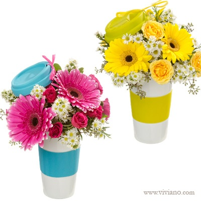 Flowers To Go - your handy solution for the caffeine needs of that on-the-go person! Holds fresh flowers now, fresh joe (or Earl Grey) later. #VivianoFlowerShop #Secretaries Day #Administrative Professionals Day