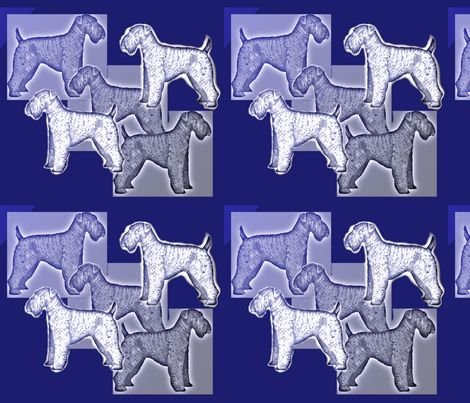 A large scale repeat with blue and grey fading in and out, with a beautiful representation of the Kerry Blue terrier, contact me at knewf@zumatel.net to order this fabric please