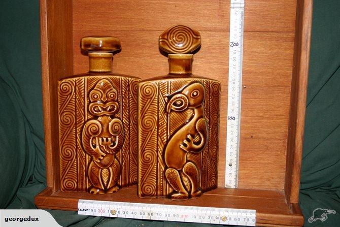 Parker Pottery Maori Design Heavy Embossed Flask