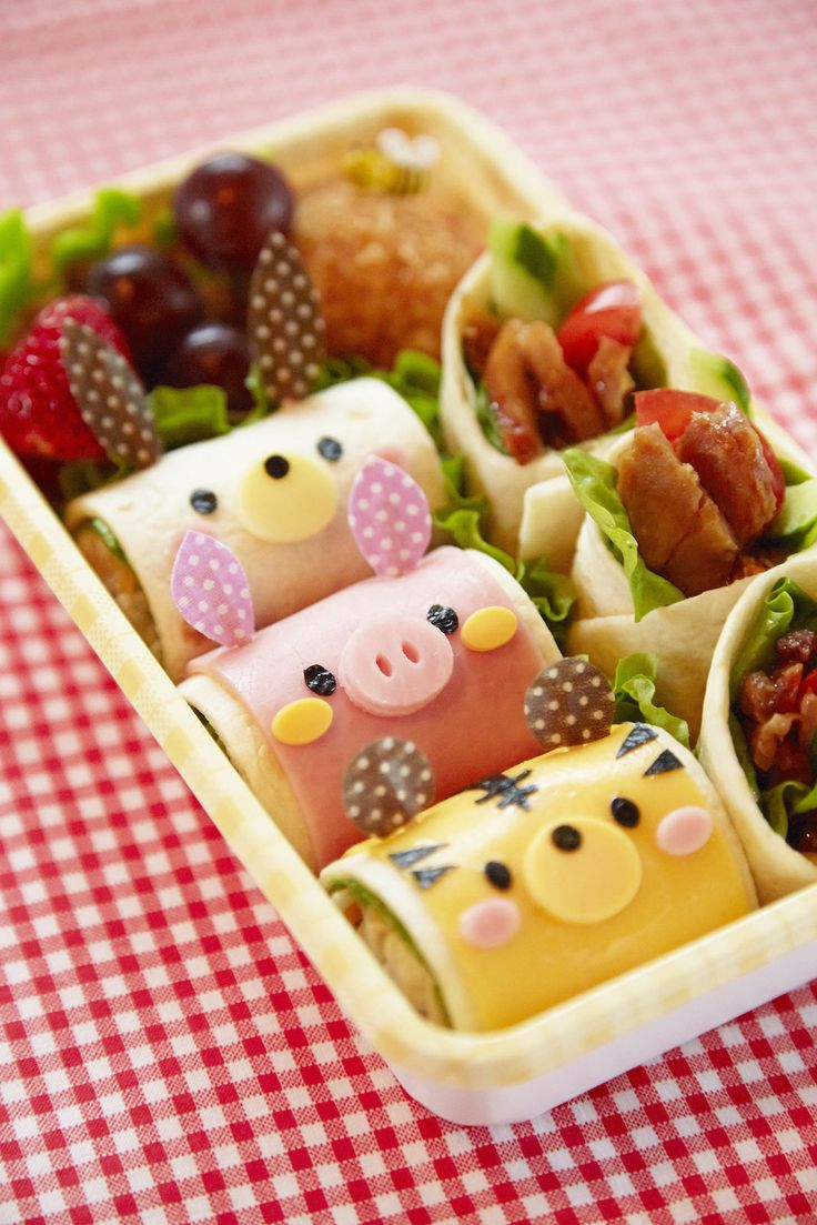Cute Rolled Animal Sandwiches English tutorial Fun food for kids Bento Bocadillos en rollo con caras de animales divertida comida para niños picnic comida para llevar