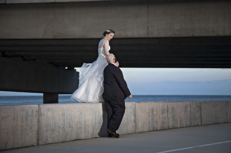 Industrial beach wedding photography