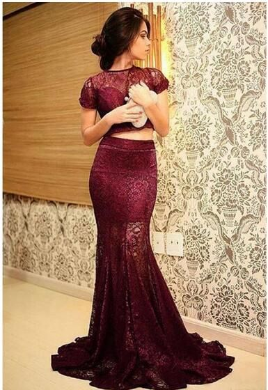 Mermaid Charming Burgundy prom dresses