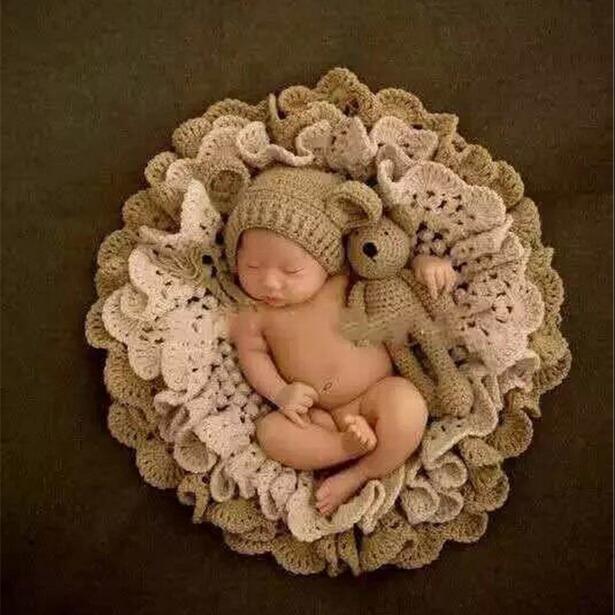 3pcs Set Newborn Photography Blanket Pink Rabbit Photo Props Beanies Hollow Crochet Bear Hats Knitted Blanket Baby Photo Shoot