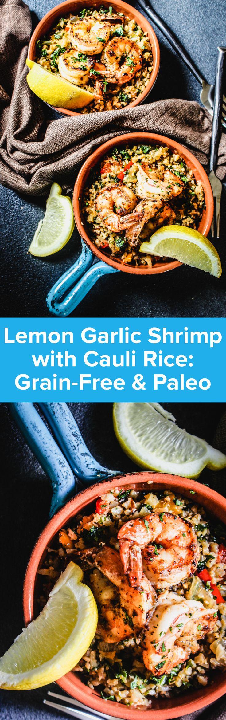 Lemon Garlic Shrimp with Cauliflower Rice Recipe   StupidEasyPaleo.com