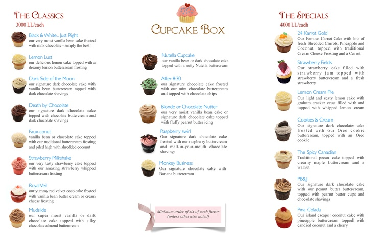 The complete cupcake box menu meet our team for