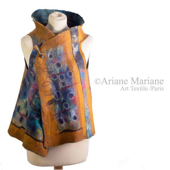 Wearable Felt Art Vest Women Wool Silk Vest by ArianeMariane