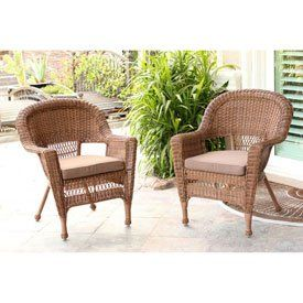 Jeco W00205-4-C-FS007-CS Honey Wicker Chair with Brown Cushion - Set of 4. Steel frame for extra durability. Crafted to withstand seasons of inclement weather. Hose off and wipe clean. 3.5 in. thick for extra cushion. Made of high grade polyester & foam.