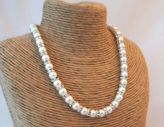 Pearl Necklace Bridal jewellery Swarovski by Makewithlovecrafts, £29.99
