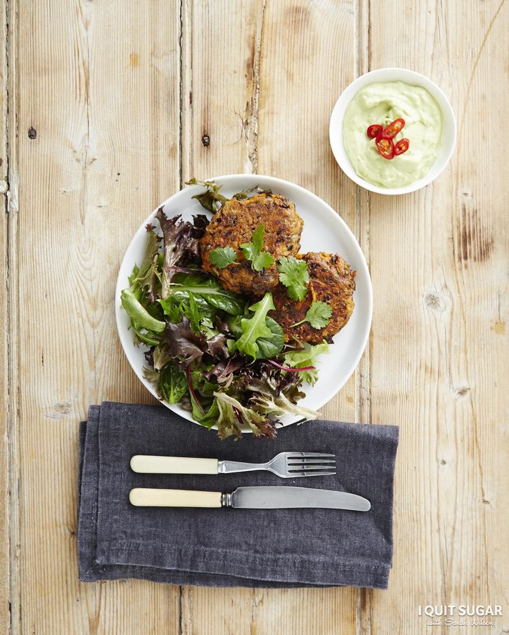 Our Naked Black Bean Burgers with Avocado Cream. Yes, AVOCADO cream. Recipe on our 8-Week Program. –I Quit Sugar