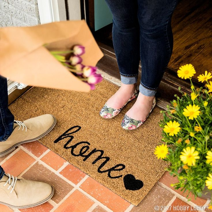 Brighten up your front door decor with a stylish doormat!