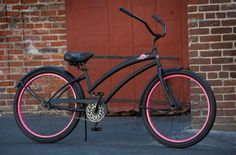 SKULLXBONES Women's Beach Cruiser Bike - Flat Black / Pink