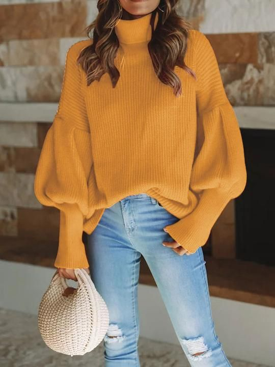 fed16a4ee98 Puff Sleeve High Neck Sweaters 6 Colors in 2019