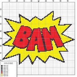 Cool comic style cross stitch pattern BAM modern by hallodribums