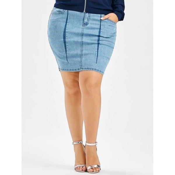 Denim Mini Plus Size Bodycon Skirt Light Blue ($19) ❤ liked on Polyvore featuring skirts, mini skirts, white skirt, white denim skirt, denim bodycon skirt, plus size bodycon skirt and white bodycon mini skirt