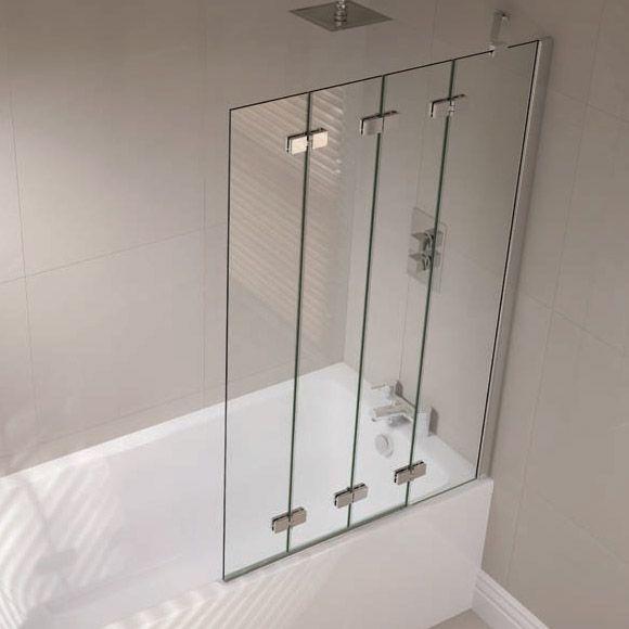 April Prestige Frameless 4Panel Folding Bath Screen