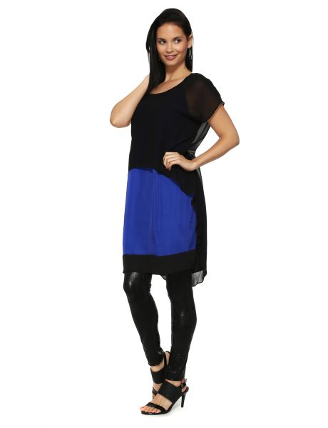 Featuring a hi-lo hem chiffon overlay, this layered dress has short-sleeves and a cobalt base. #NewandNow