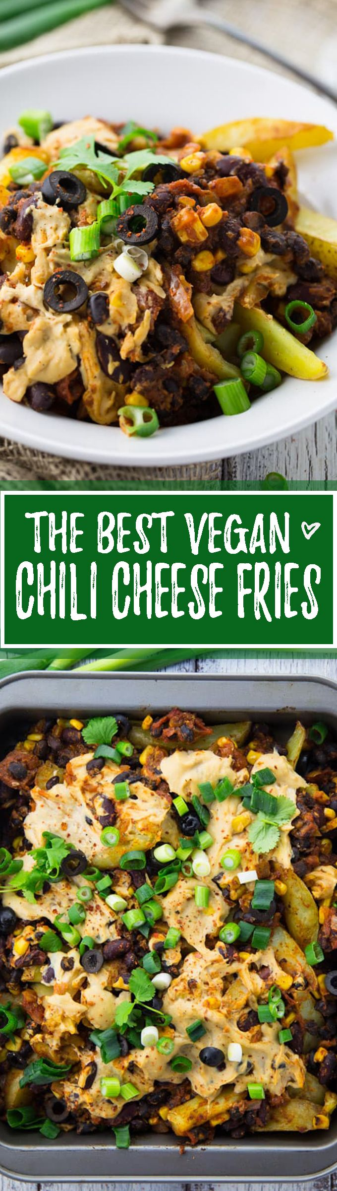 These vegan chili cheese fries are the perfect comfort food. The best thing is that they're not oily and greasy like the classic junk food! The perfect vegan dinner when you feel like comfort food! <3 | veganheaven.org