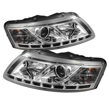 Spyder Auto 444-ADA605-DRL-C | 2007 Audi A6 Chrome/Clear DRL LED Projector Headlights for Sedan