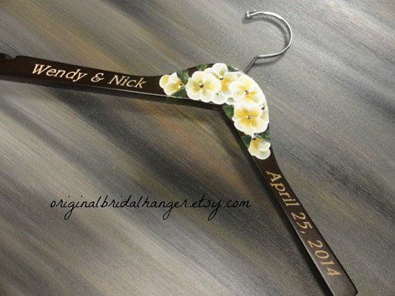 Engraved Wedding Hangers No Wire Hangers by OriginalBridalHanger #EngravedWeddingHangers make wonderful keepsakes.  This hanger does not include personalized wire.  It is hand painted with lovely flowers.