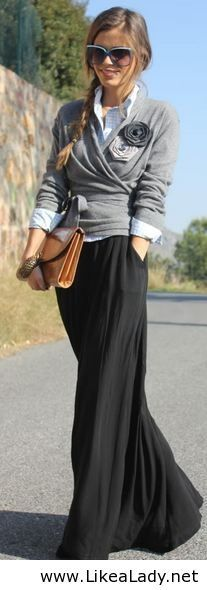 Wrapped sweater, flower pins & maxi skirt