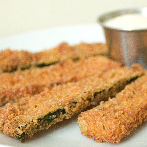 Deep Fried Zucchini Sticks. These are probably TERRIBLE for you. Lol. But these look too tasty to pass up.