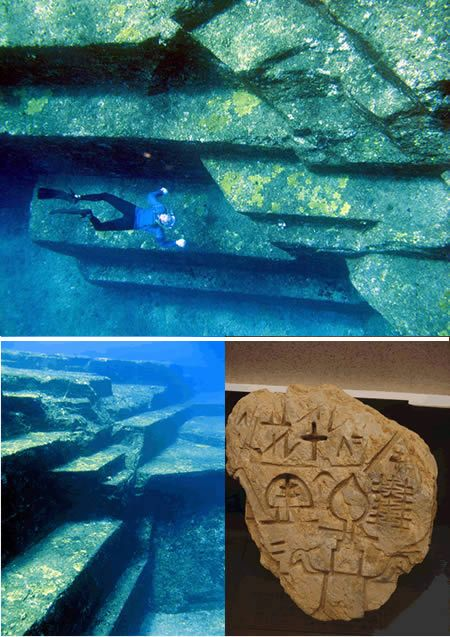 8000-year-old Yonaguni-Jima (Japan).  The megalith was discovered quite accidentally by a sport diver in 1995 when he had strayed beyond the permissible limit off the Okinawa shore.