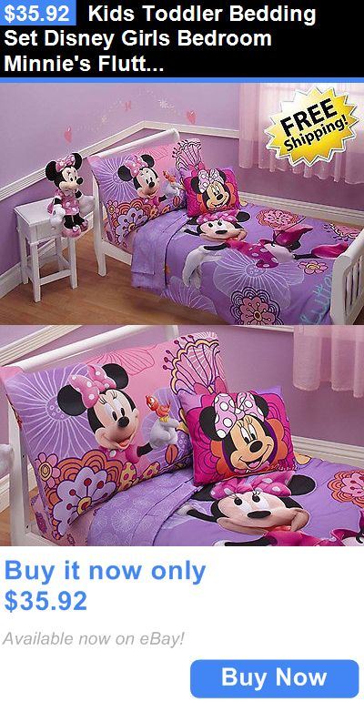 Kids at Home: Kids Toddler Bedding Set Disney Girls Bedroom Minnies Fluttery 4 Piece Lavender BUY IT NOW ONLY: $35.92