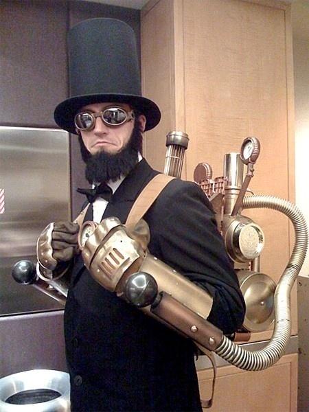 Steam Punk Abe Lincoln-esqu dude with a jetpack? He'll ya