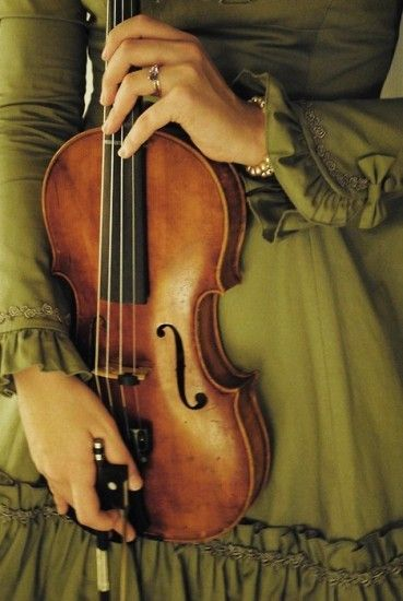 woman with violin and bow