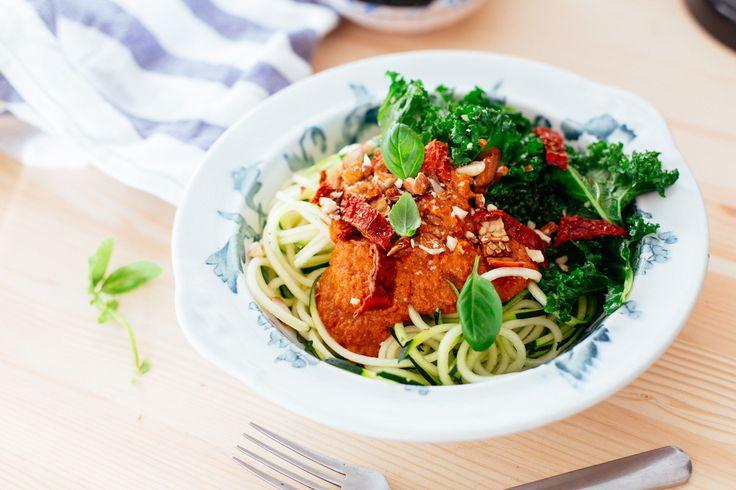 Raw tomatsås  4 tomater 3 soltorkade tomater 2 dadlar 1 röd paprika 1 dl basilika 1-2 cm röd chili, lite beroende på hur stark den är 1 vitlöksklyfta 1 dl valnötter 1 tsk riven ingefära 1 msk tamari eller japansk soja Salt och peppar