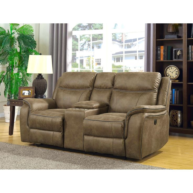 Global Hudson Dual Power Reclining Loveseat with Memory Foam Seats, USB Charging, AC Power Outlets and Power Adjustable Headrests, Brown
