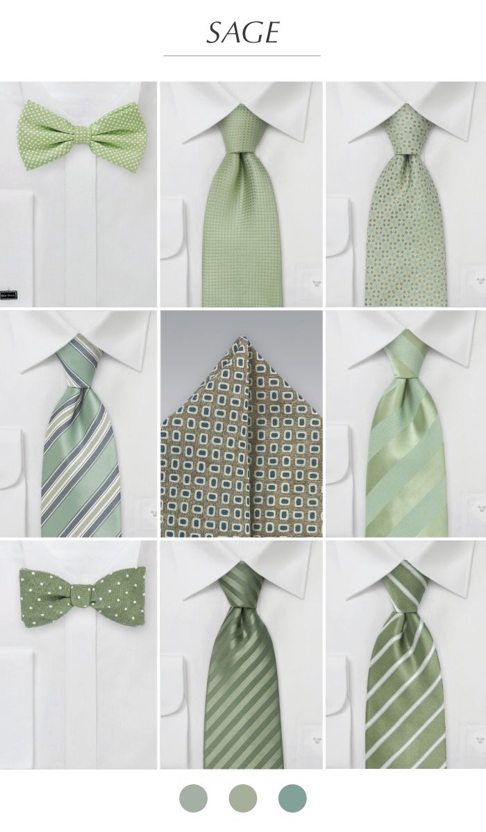 Groomsmen Ties + Pocket Squares in Sage Green.