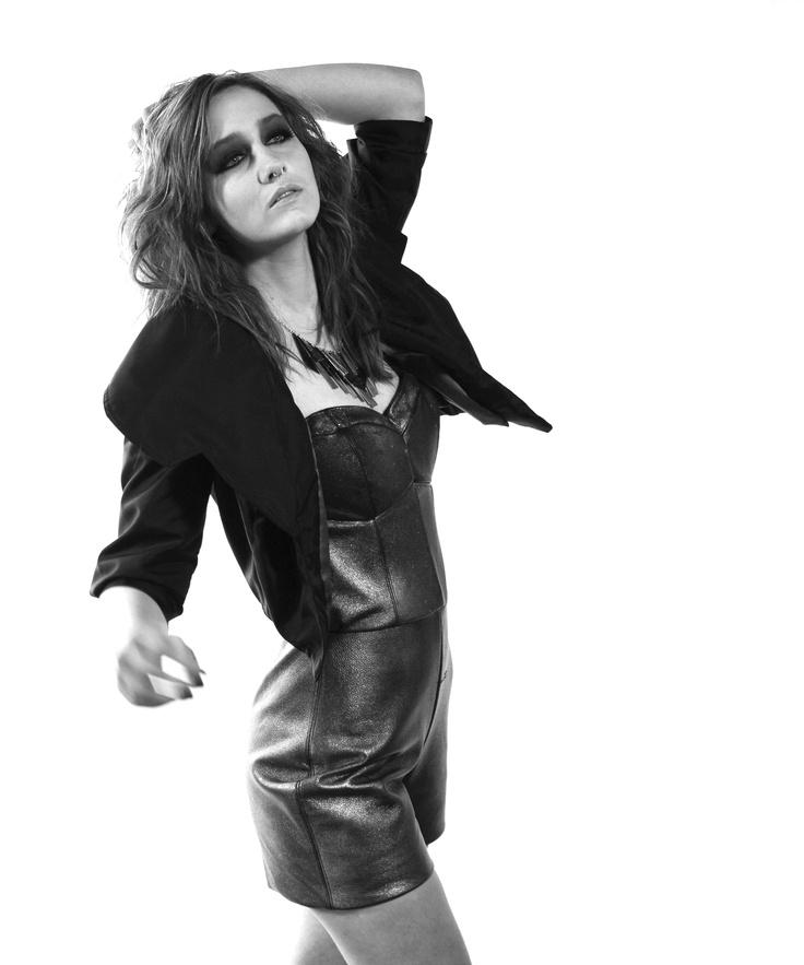 Kirbi Bethune | Metallic leather romper and nylon jacket