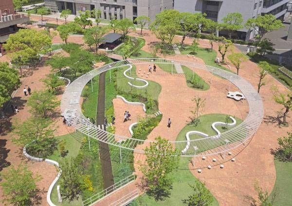 Central Plaza at Kyushu Sangyo University. Image courtesy of DESIGN NETWORK…