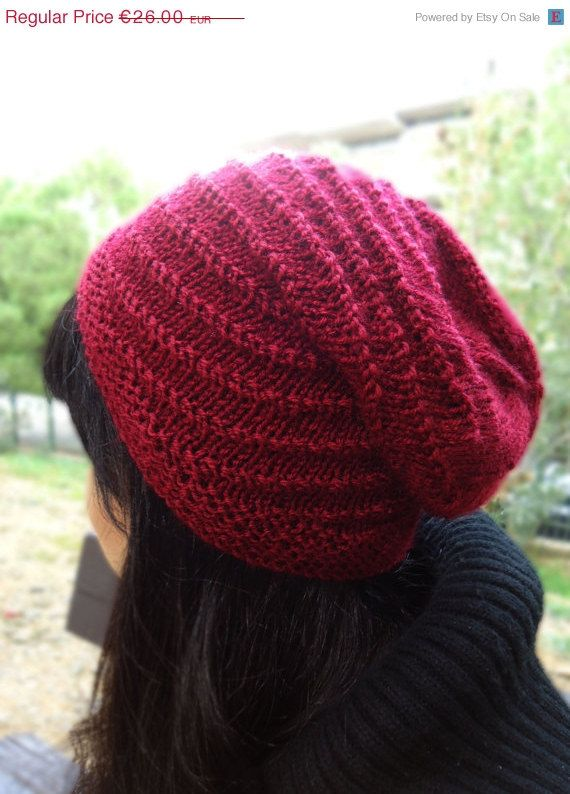 Hand knit slouchy hat chunky knit wool beanie, red knit hat  #knithats #womensfashion #winterhats