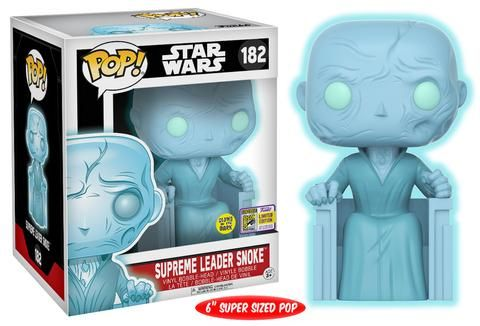 """Funko's first round of exclusives for San Diego Comic Con 2017 come from a galaxy far, far away!From recent fan favorites Bodhi Rook, Combat Assault Tank Trooper, and 6-inch holographic Snoke to the timeless pairing of R2-D2 with holographic Princess Leia, these figures are essential for every Star Wars fan! Pop! Star Wars: Rogue One - Bodhi RookPop! Star Wars: Rogue One - Combat Assault Tank TrooperPop! Star Wars: 6"""" Supreme Leader Snoke (Glow-in-the-Dark)Pop! Star Wars: Holographic..."""