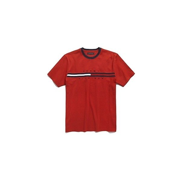Hilfiger Logo Tee | Tommy Hilfiger USA ❤ liked on Polyvore featuring tops, t-shirts, shirts, tees, logo t shirts, red tee, red top, red shirt and logo tee