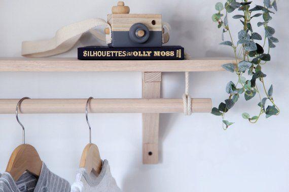 Tasmanian Oak Bracket Shelf With Hanging Rod Wooden Nursery Scandinavian Shelves Shelves Nursery Shelves