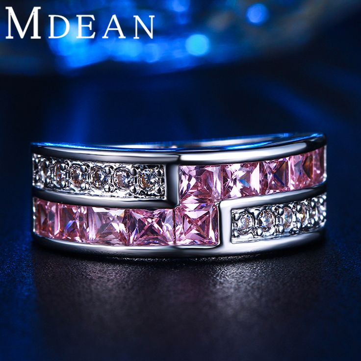 MDEAN White Gold plated Round Rings for Women Pink Simulated Diamond Round Engagement anilos bague MSR163