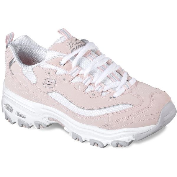 Skechers D'Lites Biggest Fan Women's Athletic Shoes ($60) ❤ liked on Polyvore featuring shoes, athletic shoes, grey, skechers footwear, laced up shoes, nubuck leather shoes, shock absorption shoes and grip shoes