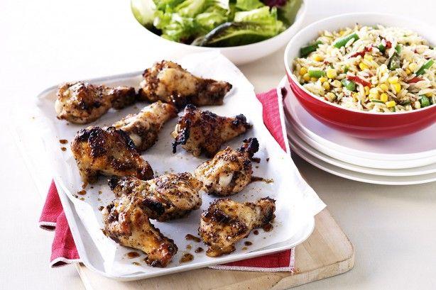 Chicken drumettes with warm pasta salad main image