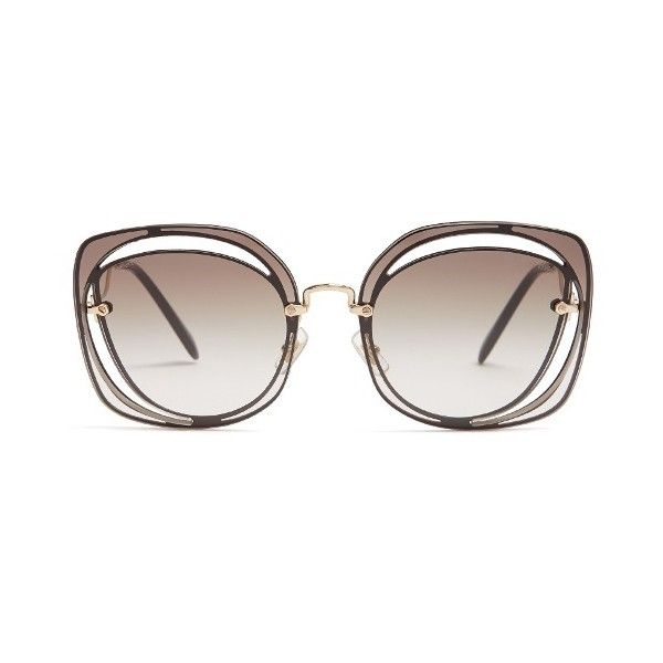 9117b53e728c Miu Miu Oversized cut-out metal sunglasses ( 280) ❤ liked on Polyvore  featuring