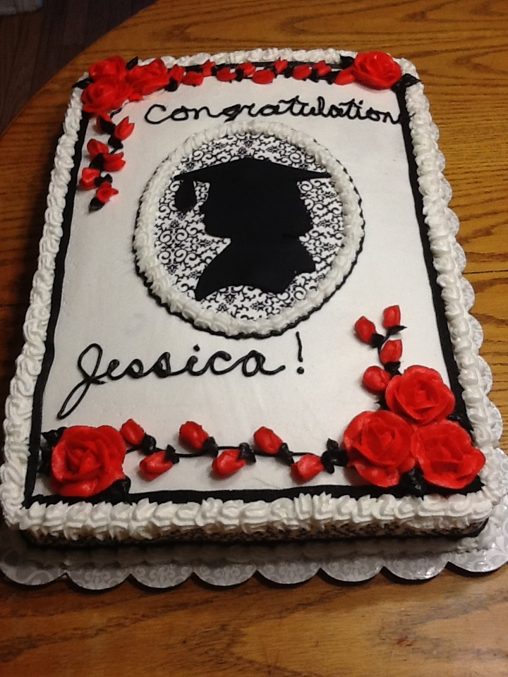 Graduation cake. Silhouette is made out of fondant ...