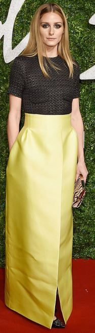 Who made Olivia Palermo's neon yellow maxi skirt that she wore in London?