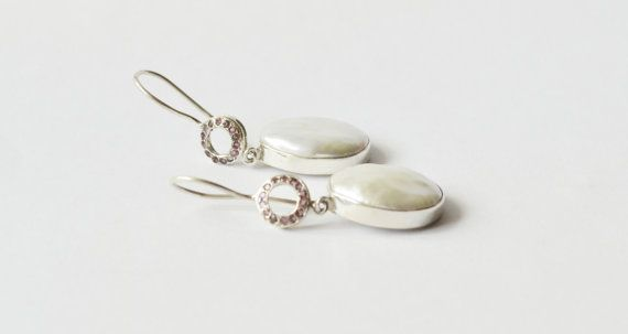 Pearl Earrings - Silver Earrings - Gemstone Earrings - Drop Earrings - Fine Jewelry - Unique Jewelry - Bridal Jewelry - Pearl Jewelry