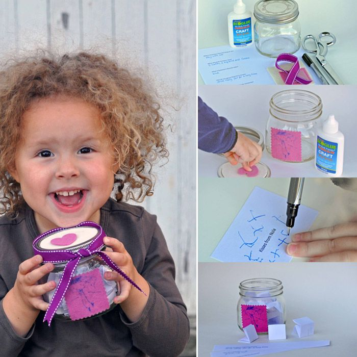 A perfect gift for far away grandmas – decorate and fill a jar with love and funny kid thoughts for Grandma to read each week.